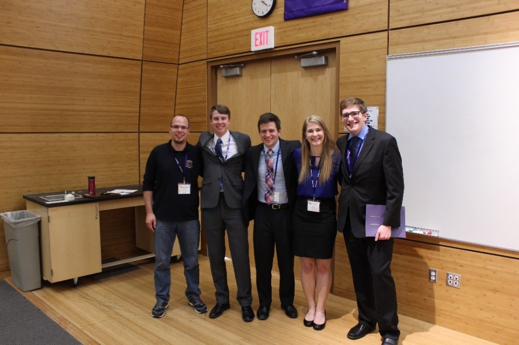 Concordia College took first place at MUDAC 2016.  From left to right: Dr. John Reber (advisor); Philip Manley; Tom Dukatz; Rachel Swedin; and Zach Lipp